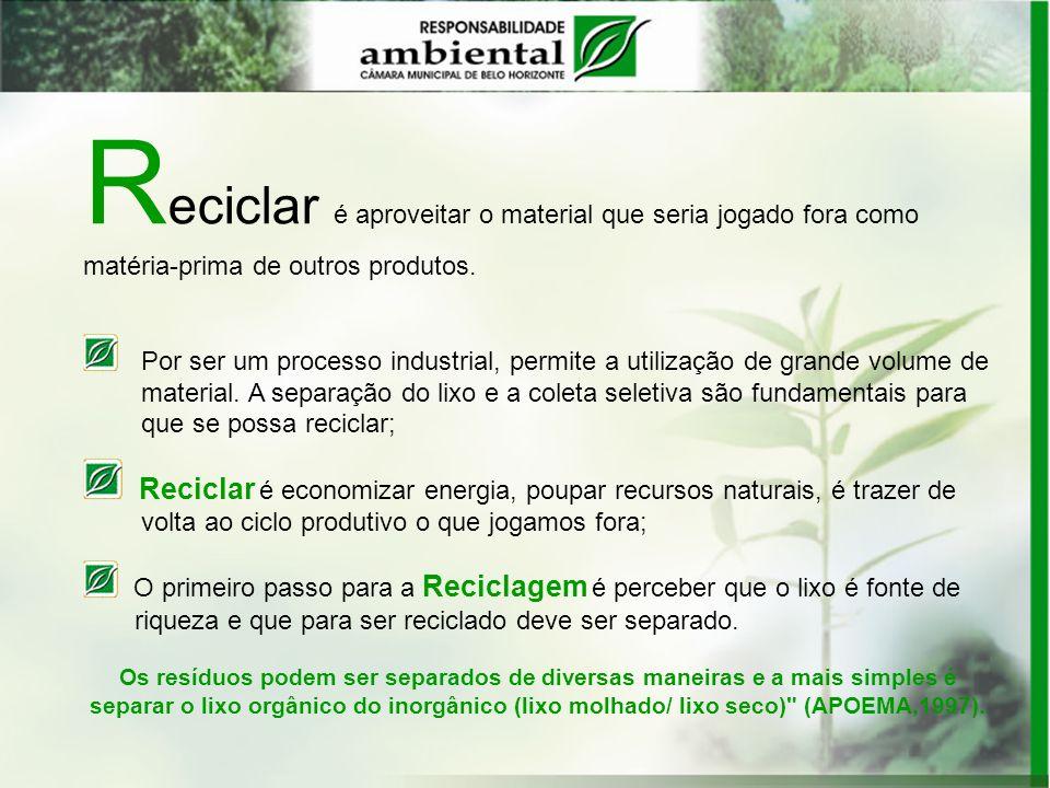 R eciclar é aproveitar o material que seria jogado fora como matéria-prima de outros produtos. Por ser um processo industrial, permite a utilização de