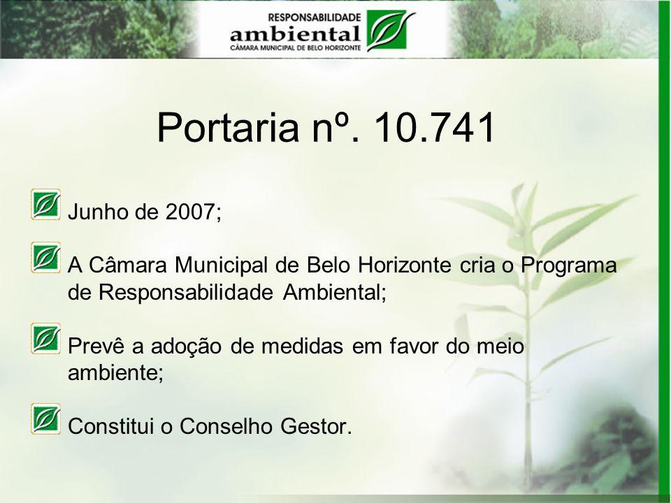 Portaria nº. 10.741 Junho de 2007; A Câmara Municipal de Belo Horizonte cria o Programa de Responsabilidade Ambiental; Prevê a adoção de medidas em fa