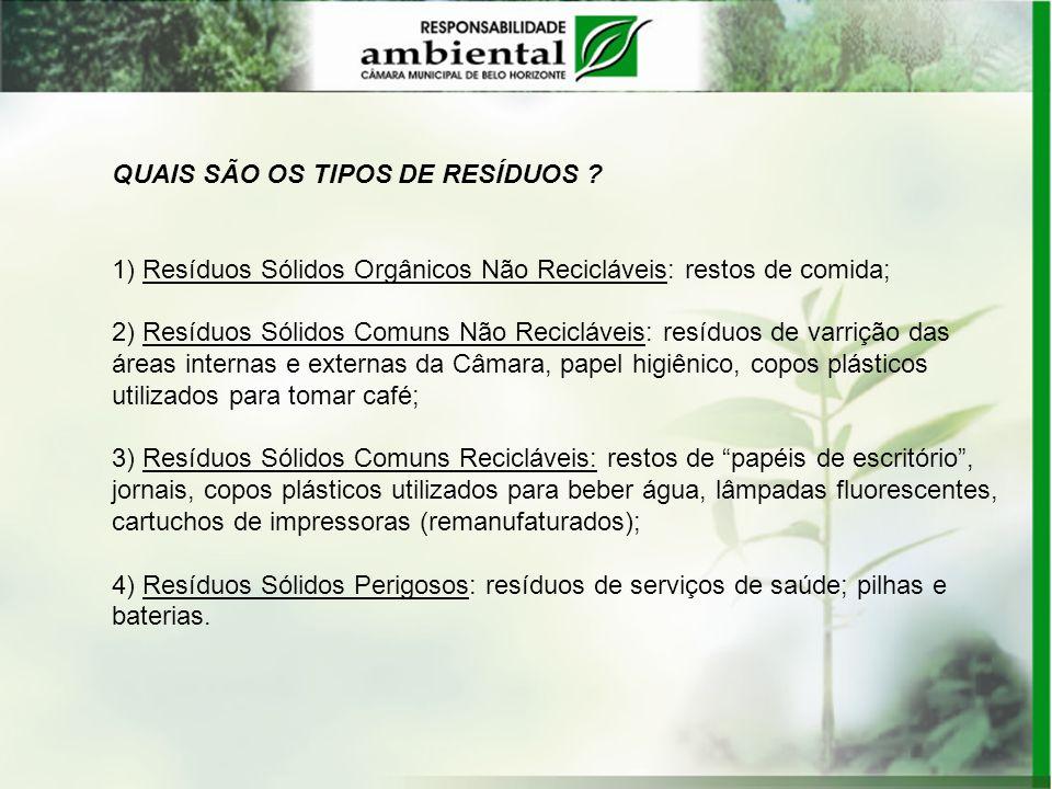 QUAIS SÃO OS TIPOS DE RESÍDUOS ? 1) Resíduos Sólidos Orgânicos Não Recicláveis: restos de comida; 2) Resíduos Sólidos Comuns Não Recicláveis: resíduos