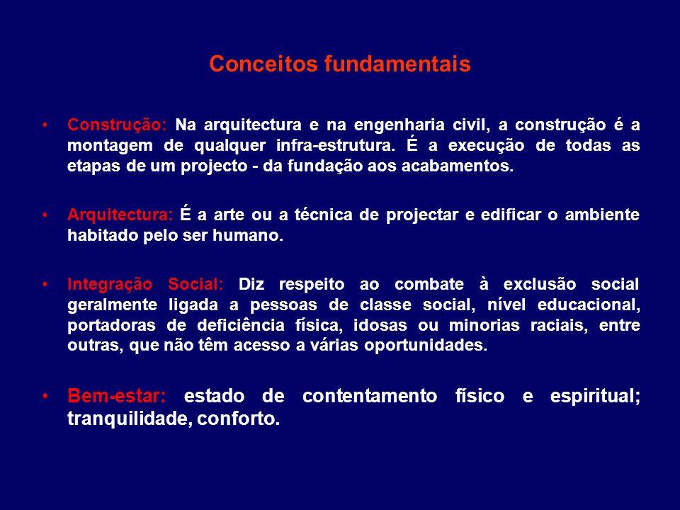 Conceitos fundamentais Construção: Na arquitectura e na engenharia civil, a construção é a montagem de qualquer infra-estrutura. É a execução de todas