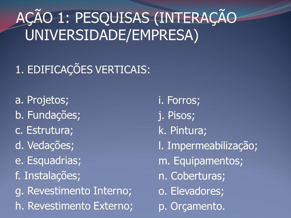 1. EDIFICAÇÕES VERTICAIS: a. Projetos; b. Fundações; c. Estrutura; d. Vedações; e. Esquadrias; f. Instalações; g. Revestimento Interno; h. Revestiment