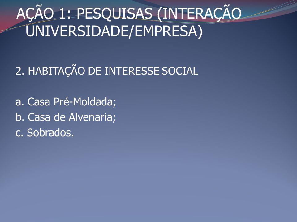 AÇÃO 1: PESQUISAS (INTERAÇÃO UNIVERSIDADE/EMPRESA) 2. HABITAÇÃO DE INTERESSE SOCIAL a. Casa Pré-Moldada; b. Casa de Alvenaria; c. Sobrados.