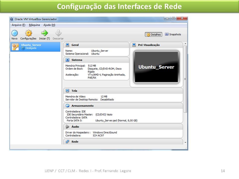 Configuração das Interfaces de Rede 14 UENP / CCT / CLM - Redes I - Prof. Fernando Legore