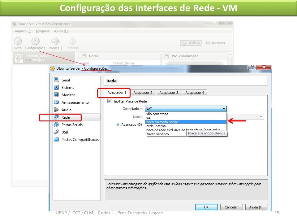 Configuração das Interfaces de Rede - VM 15 UENP / CCT / CLM - Redes I - Prof. Fernando Legore