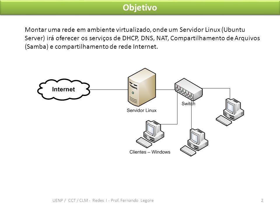 Objetivo Montar uma rede em ambiente virtualizado, onde um Servidor Linux (Ubuntu Server) irá oferecer os serviços de DHCP, DNS, NAT, Compartilhamento