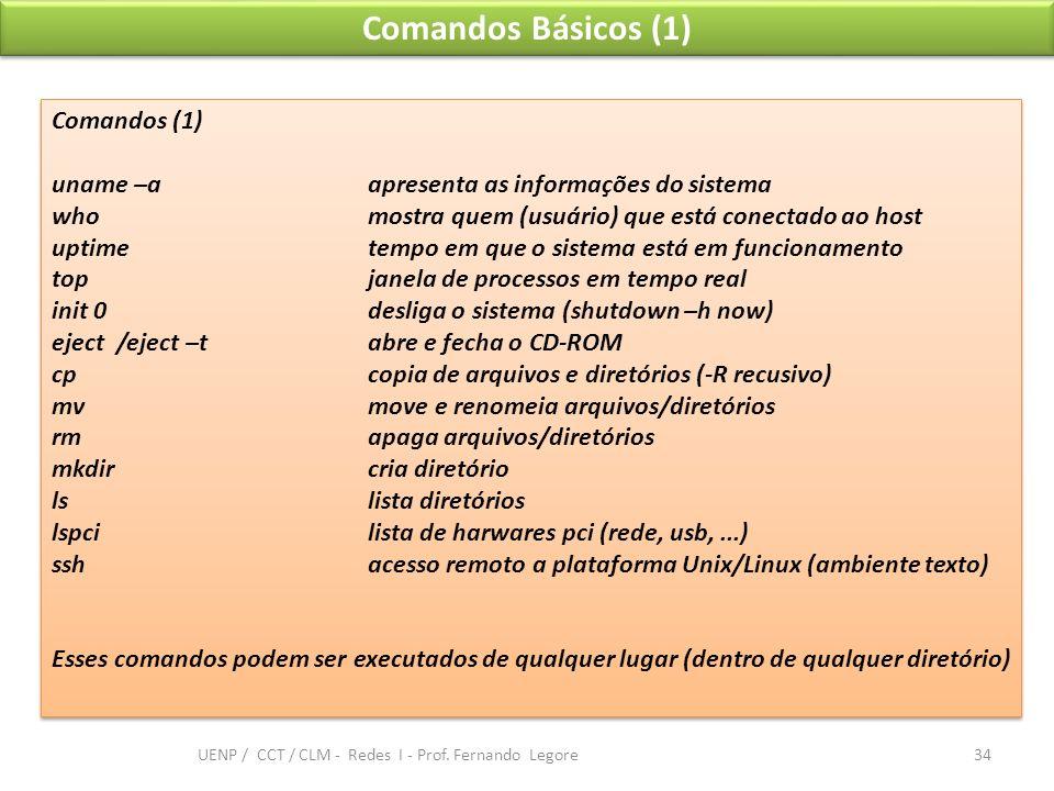 Comandos Básicos (1) Comandos (1) uname –aapresenta as informações do sistema who mostra quem (usuário) que está conectado ao host uptimetempo em que