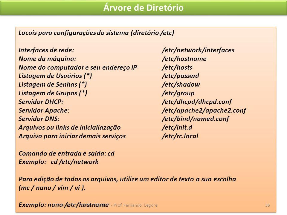 Árvore de Diretório Locais para configurações do sistema (diretório /etc) Interfaces de rede:/etc/network/interfaces Nome da máquina: /etc/hostname No