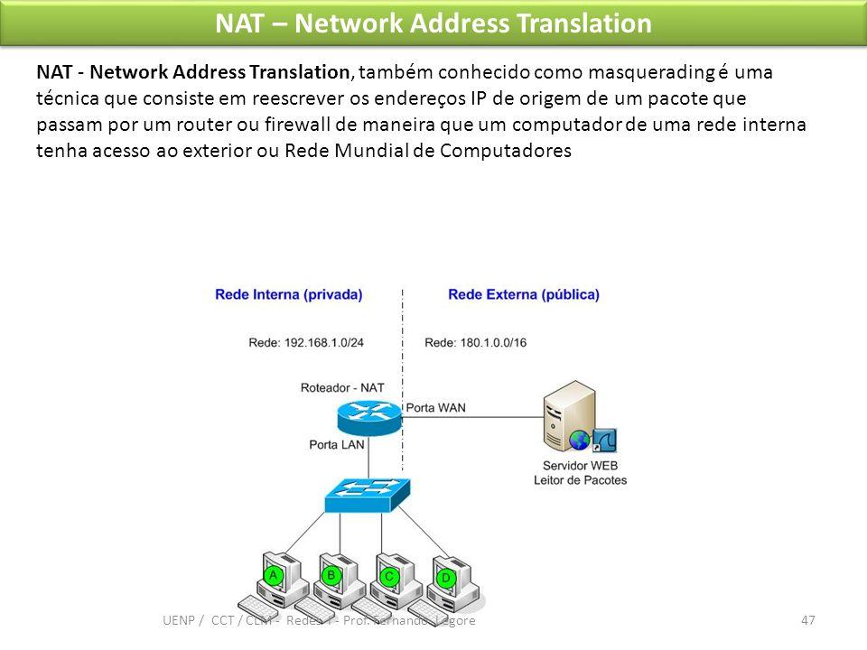 NAT – Network Address Translation NAT - Network Address Translation, também conhecido como masquerading é uma técnica que consiste em reescrever os en