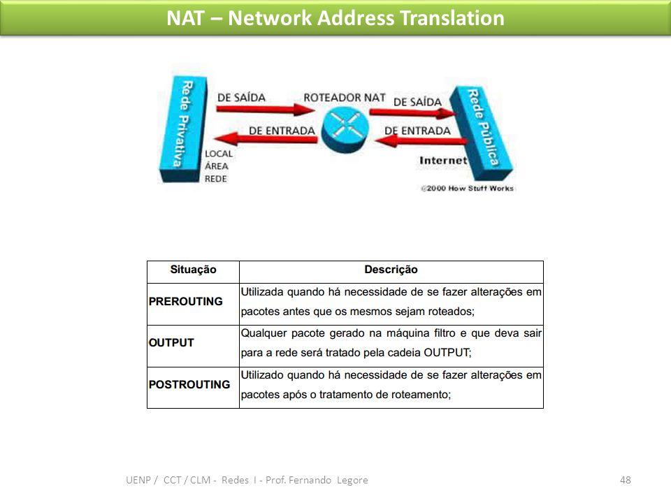 NAT – Network Address Translation 48 UENP / CCT / CLM - Redes I - Prof. Fernando Legore