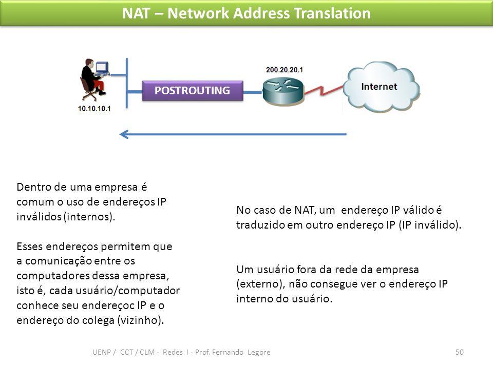 NAT – Network Address Translation Dentro de uma empresa é comum o uso de endereços IP inválidos (internos). Esses endereços permitem que a comunicação
