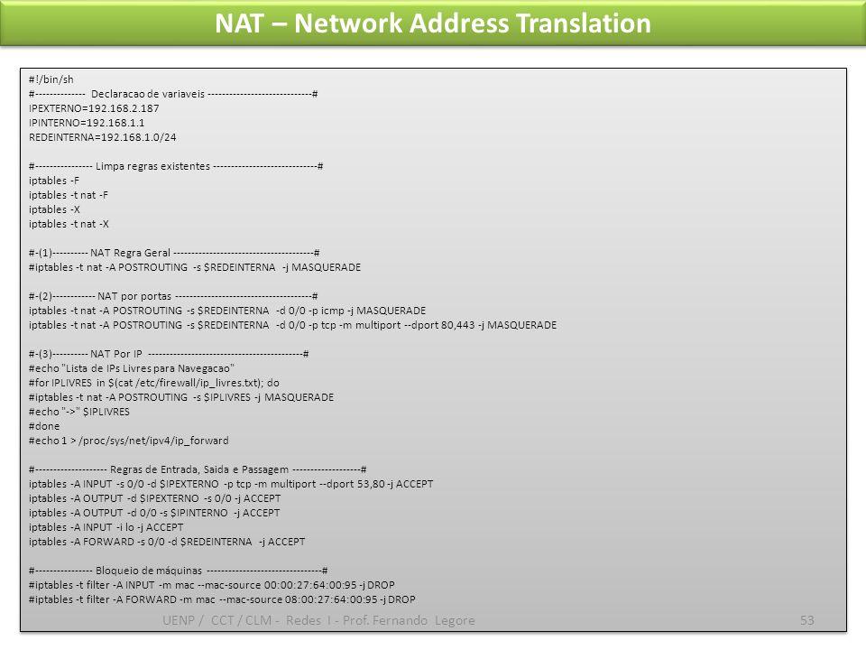 NAT – Network Address Translation #!/bin/sh #-------------- Declaracao de variaveis -----------------------------# IPEXTERNO=192.168.2.187 IPINTERNO=1