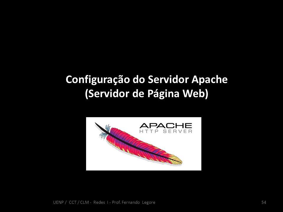 Configuração do Servidor Apache (Servidor de Página Web) 54 UENP / CCT / CLM - Redes I - Prof. Fernando Legore