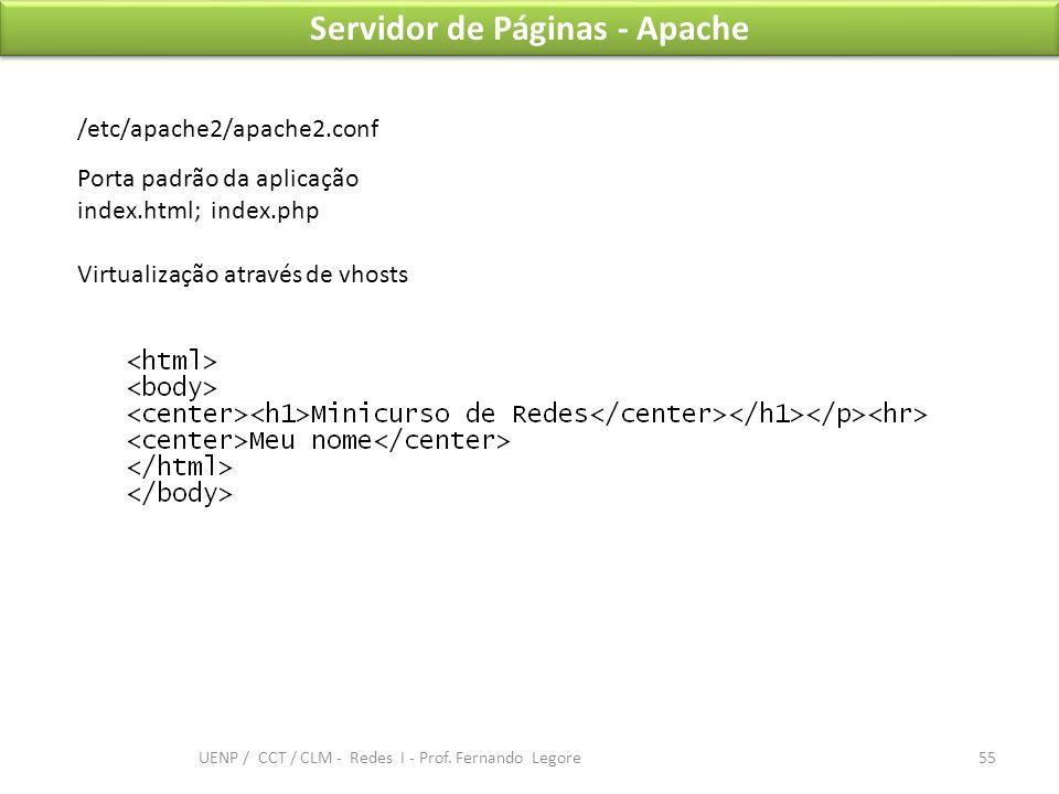 Servidor de Páginas - Apache /etc/apache2/apache2.conf Porta padrão da aplicação index.html; index.php Virtualização através de vhosts 55 UENP / CCT /
