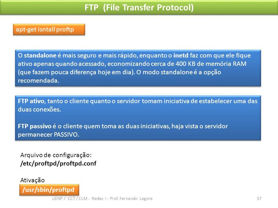 FTP (File Transfer Protocol) apt-get isntall proftp FTP ativo, tanto o cliente quanto o servidor tomam iniciativa de estabelecer uma das duas conexões