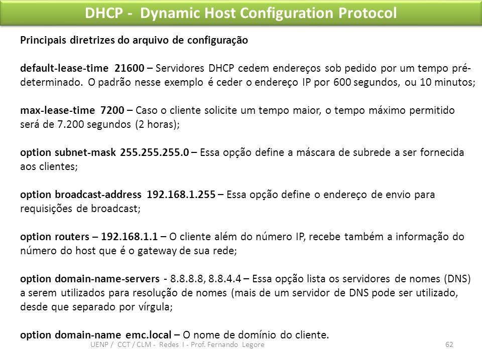 DHCP - Dynamic Host Configuration Protocol Principais diretrizes do arquivo de configuração default-lease-time 21600 – Servidores DHCP cedem endereços