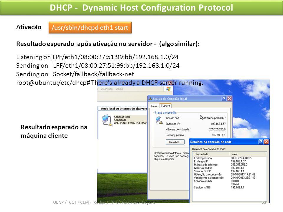 DHCP - Dynamic Host Configuration Protocol Resultado esperado na máquina cliente /usr/sbin/dhcpd eth1 start Ativação Listening on LPF/eth1/08:00:27:51