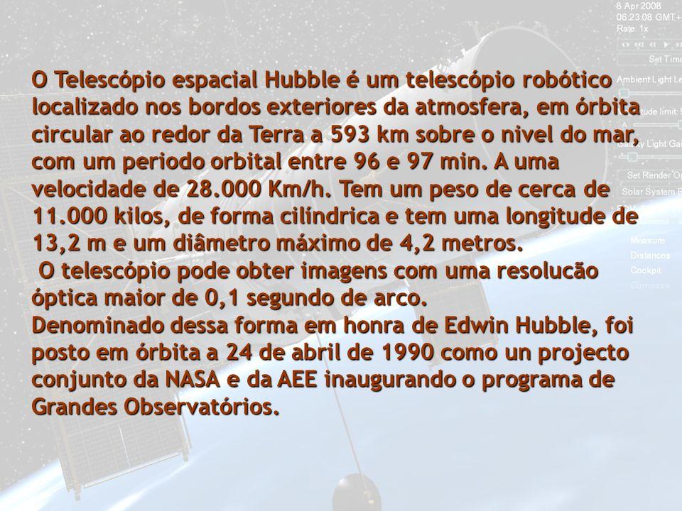 O Telescópio espacial Hubble é um telescópio robótico localizado nos bordos exteriores da atmosfera, em órbita circular ao redor da Terra a 593 km sobre o nivel do mar, com um periodo orbital entre 96 e 97 min.