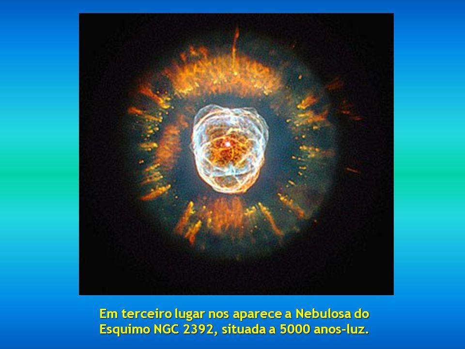 Em segundo lugar temos a fabulosa Nebula Mz3, chamada Nebulosa da Formiga pela aparência que apresenta vista aos telescópios, situada entre 3000 e 600