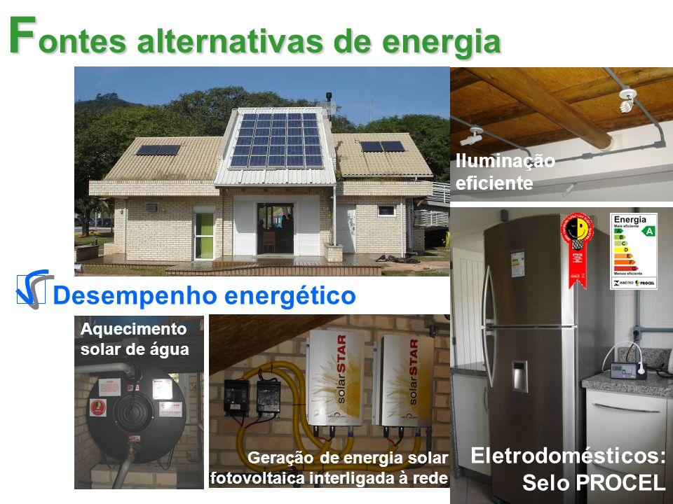 Iluminação eficiente Eletrodomésticos: Selo PROCEL Aquecimento solar de água Geração de energia solar fotovoltaica interligada à rede F ontes alternativas de energia Desempenho energético