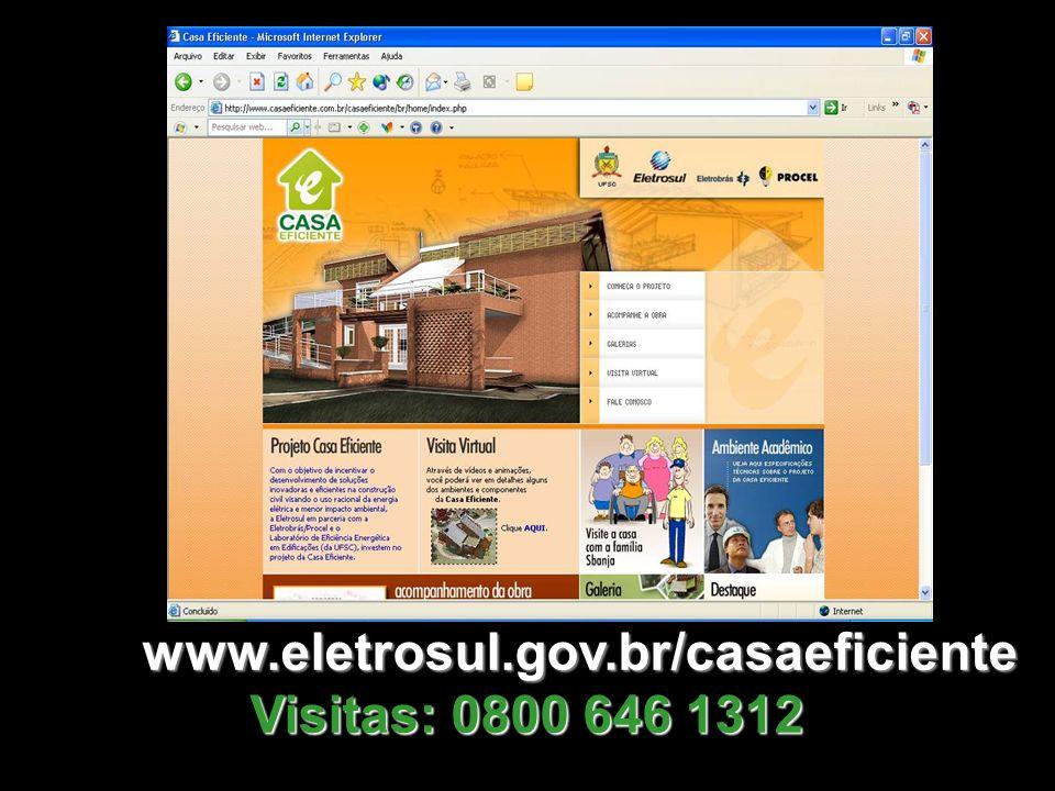 www.eletrosul.gov.br/casaeficiente Visitas: 0800 646 1312