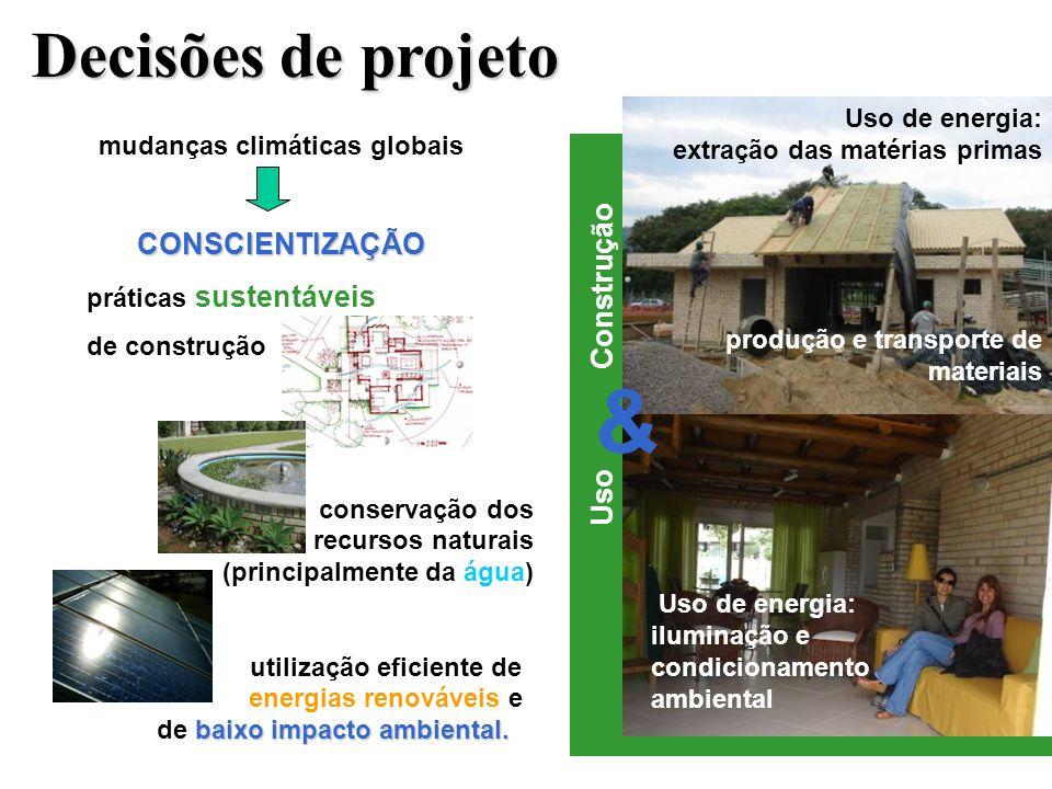 mudanças climáticas globaisCONSCIENTIZAÇÃO práticas sustentáveis de construção conservação dos recursos naturais (principalmente da água) baixo impacto ambiental.