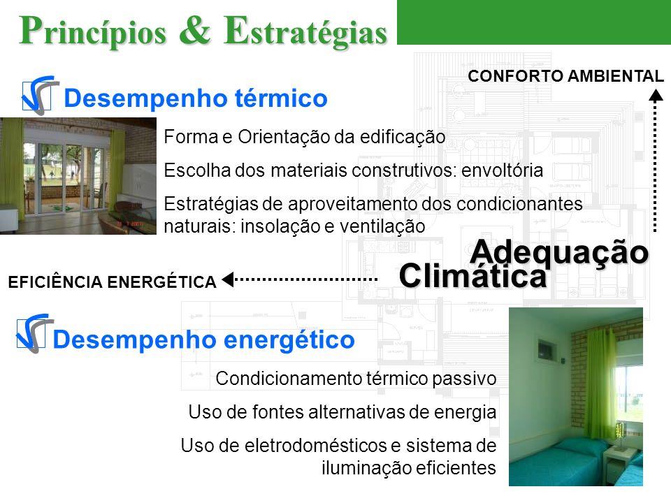 Desempenho térmico CONFORTO AMBIENTAL Forma e Orientação da edificação Escolha dos materiais construtivos: envoltória Estratégias de aproveitamento dos condicionantes naturais: insolação e ventilação Desempenho energético EFICIÊNCIA ENERGÉTICA Condicionamento térmico passivo Uso de fontes alternativas de energia Uso de eletrodomésticos e sistema de iluminação eficientes Climática Adequação P rincípios & E stratégias