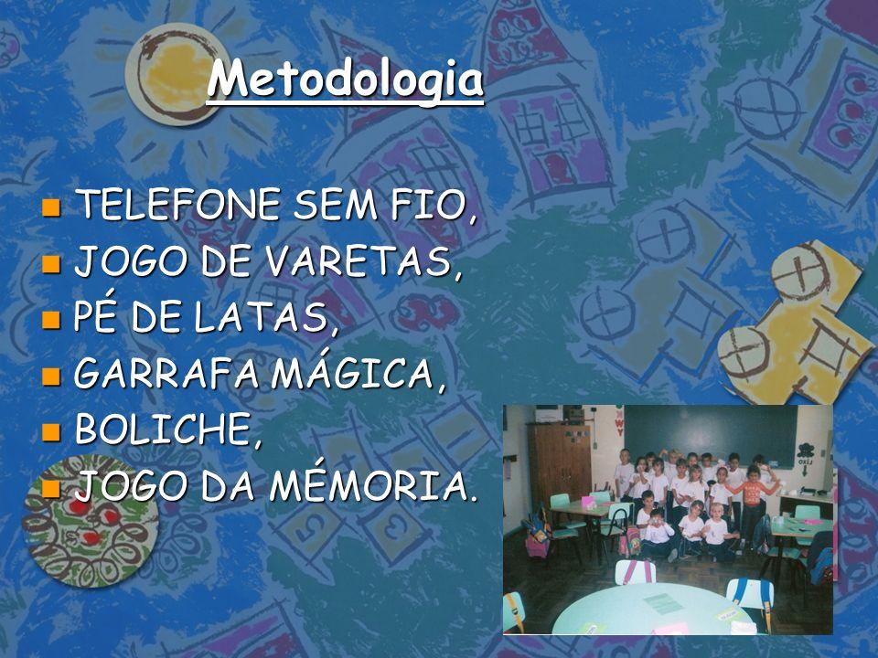 Metodologia n TELEFONE SEM FIO, n JOGO DE VARETAS, n PÉ DE LATAS, n GARRAFA MÁGICA, n BOLICHE, n JOGO DA MÉMORIA.