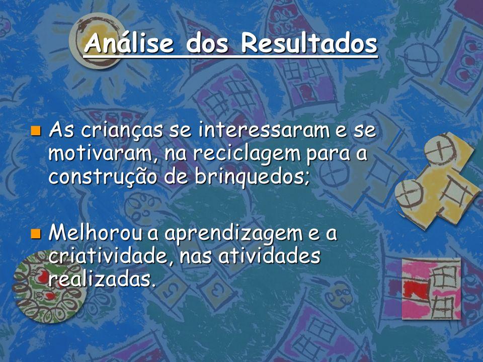 Análise dos Resultados n As crianças se interessaram e se motivaram, na reciclagem para a construção de brinquedos; n Melhorou a aprendizagem e a cria