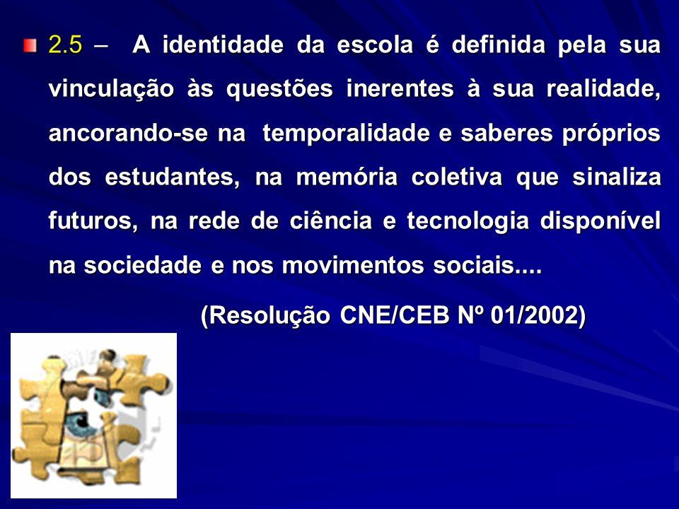 2.5 – A identidade da escola é definida pela sua vinculação às questões inerentes à sua realidade, ancorando-se na temporalidade e saberes próprios do