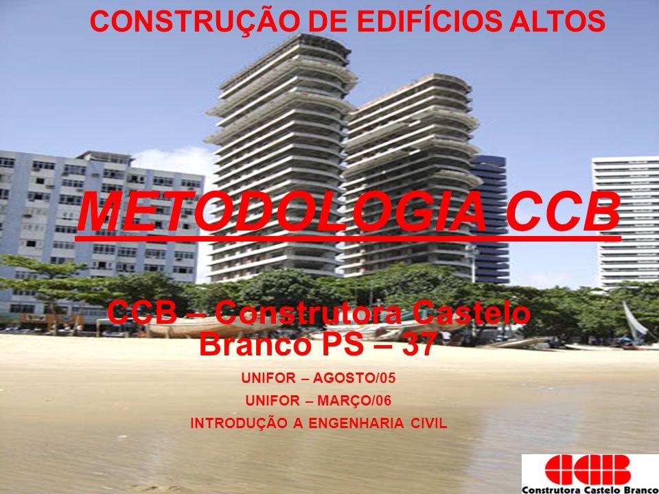 CONSTRUÇÃO DE EDIFÍCIOS ALTOS METODOLOGIA CCB CCB – Construtora Castelo Branco PS – 37 UNIFOR – AGOSTO/05 UNIFOR – MARÇO/06 INTRODUÇÃO A ENGENHARIA CI