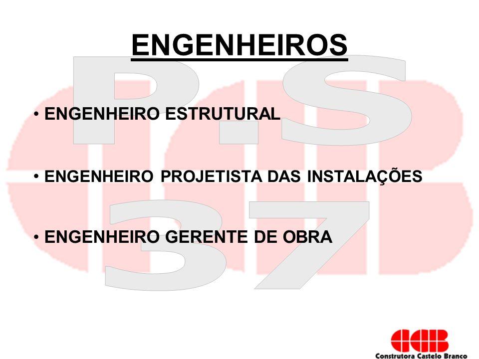 ENGENHEIROS ENGENHEIRO ESTRUTURAL ENGENHEIRO PROJETISTA DAS INSTALAÇÕES ENGENHEIRO GERENTE DE OBRA