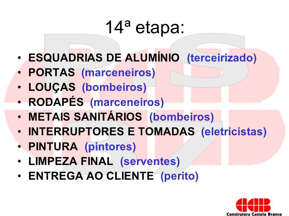 14ª etapa: ESQUADRIAS DE ALUMÍNIO (terceirizado) PORTAS (marceneiros) LOUÇAS (bombeiros) RODAPÉS (marceneiros) METAIS SANITÁRIOS (bombeiros) INTERRUPT