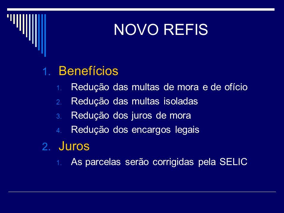 NOVO REFIS 1. Benefícios 1. Redução das multas de mora e de ofício 2. Redução das multas isoladas 3. Redução dos juros de mora 4. Redução dos encargos