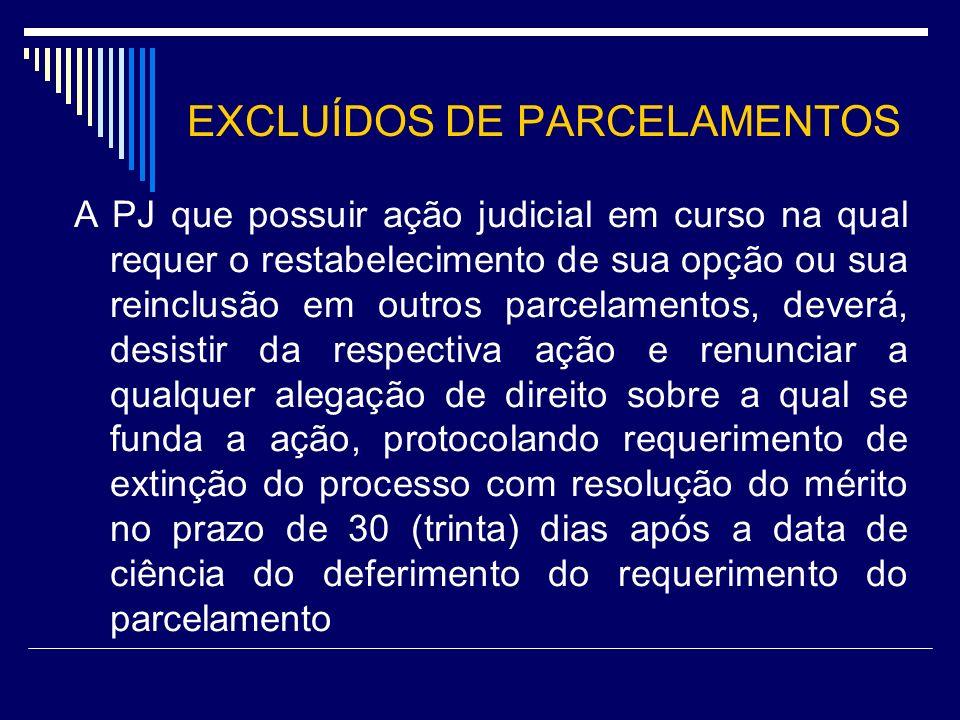 EXCLUÍDOS DE PARCELAMENTOS A PJ que possuir ação judicial em curso na qual requer o restabelecimento de sua opção ou sua reinclusão em outros parcelam