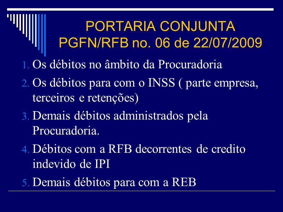 PORTARIA CONJUNTA PGFN/RFB no. 06 de 22/07/2009 1. Os débitos no âmbito da Procuradoria 2. Os débitos para com o INSS ( parte empresa, terceiros e ret