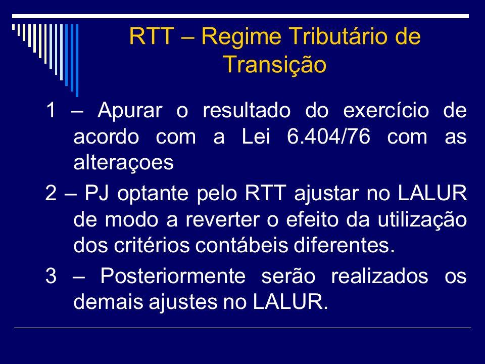 RTT – Regime Tributário de Transição 1 – Apurar o resultado do exercício de acordo com a Lei 6.404/76 com as alteraçoes 2 – PJ optante pelo RTT ajusta