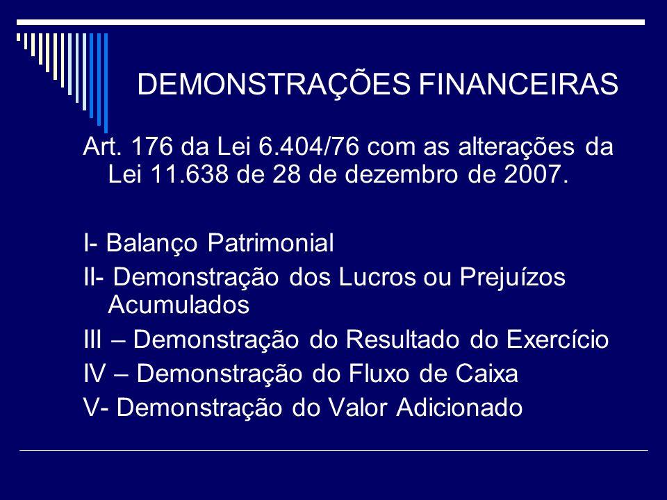 DEMONSTRAÇÕES FINANCEIRAS Art. 176 da Lei 6.404/76 com as alterações da Lei 11.638 de 28 de dezembro de 2007. I- Balanço Patrimonial II- Demonstração