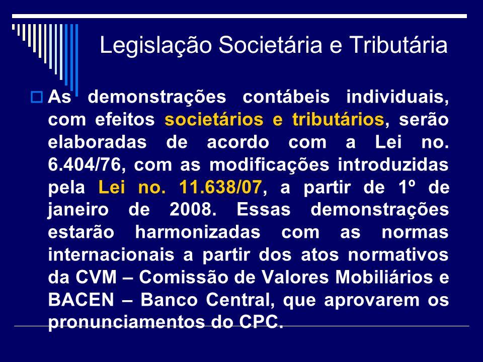 Legislação Societária e Tributária As demonstrações contábeis individuais, com efeitos societários e tributários, serão elaboradas de acordo com a Lei