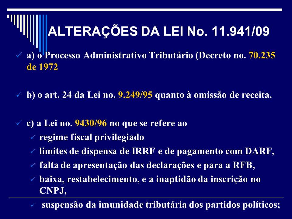 ALTERAÇÕES DA LEI No. 11.941/09 a) o Processo Administrativo Tributário (Decreto no. 70.235 de 1972 b) o art. 24 da Lei no. 9.249/95 quanto à omissão