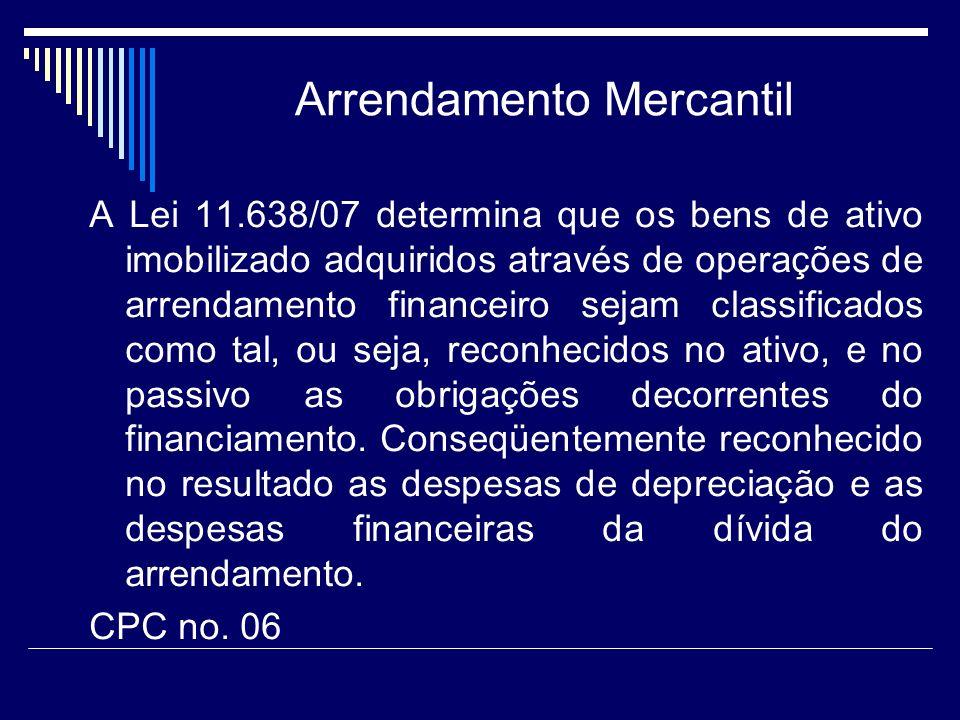 Arrendamento Mercantil A Lei 11.638/07 determina que os bens de ativo imobilizado adquiridos através de operações de arrendamento financeiro sejam cla