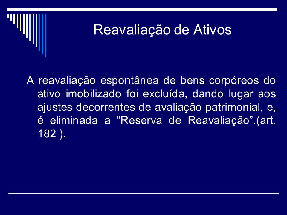 Reavaliação de Ativos A reavaliação espontânea de bens corpóreos do ativo imobilizado foi excluída, dando lugar aos ajustes decorrentes de avaliação p
