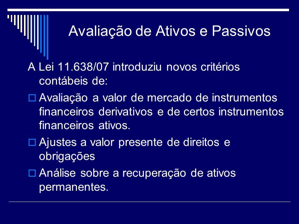 Avaliação de Ativos e Passivos A Lei 11.638/07 introduziu novos critérios contábeis de: Avaliação a valor de mercado de instrumentos financeiros deriv