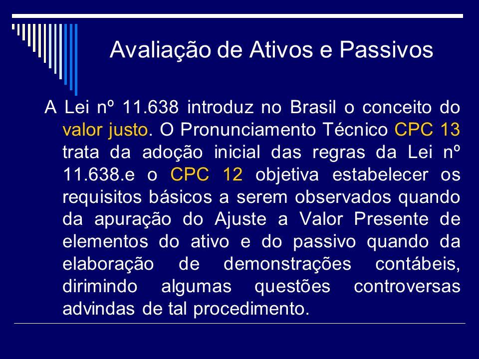 Avaliação de Ativos e Passivos A Lei nº 11.638 introduz no Brasil o conceito do valor justo. O Pronunciamento Técnico CPC 13 trata da adoção inicial d