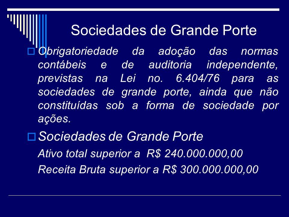 Sociedades de Grande Porte Obrigatoriedade da adoção das normas contábeis e de auditoria independente, previstas na Lei no. 6.404/76 para as sociedade