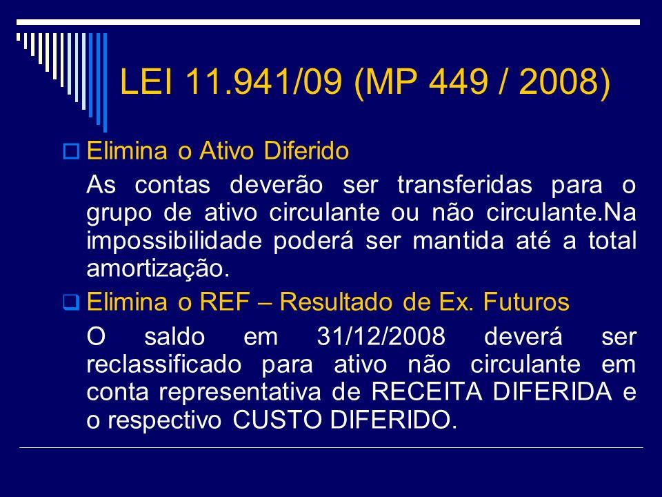LEI 11.941/09 (MP 449 / 2008) Elimina o Ativo Diferido As contas deverão ser transferidas para o grupo de ativo circulante ou não circulante.Na imposs