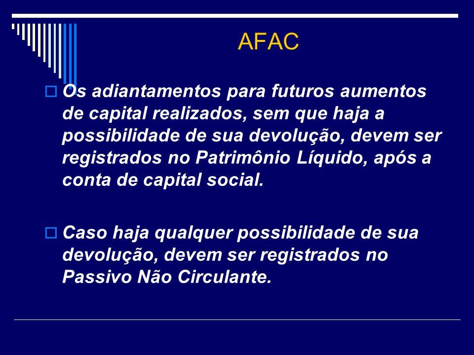 AFAC Os adiantamentos para futuros aumentos de capital realizados, sem que haja a possibilidade de sua devolução, devem ser registrados no Patrimônio