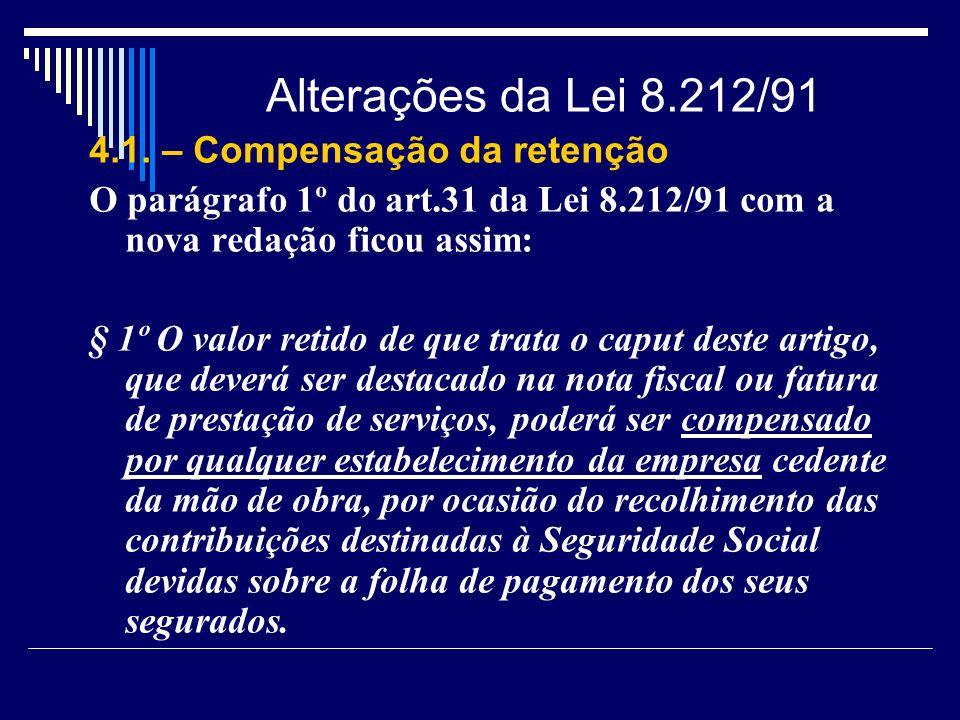 Alterações da Lei 8.212/91 4.1. – Compensação da retenção O parágrafo 1º do art.31 da Lei 8.212/91 com a nova redação ficou assim: § 1º O valor retido