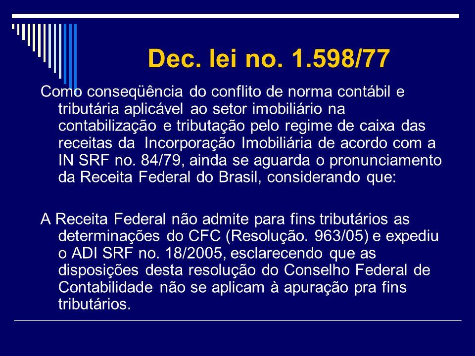 Dec. lei no. 1.598/77 Como conseqüência do conflito de norma contábil e tributária aplicável ao setor imobiliário na contabilização e tributação pelo