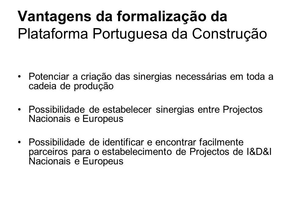 Vantagens da formalização da Plataforma Portuguesa da Construção Potenciar a criação das sinergias necessárias em toda a cadeia de produção Possibilidade de estabelecer sinergias entre Projectos Nacionais e Europeus Possibilidade de identificar e encontrar facilmente parceiros para o estabelecimento de Projectos de I&D&I Nacionais e Europeus