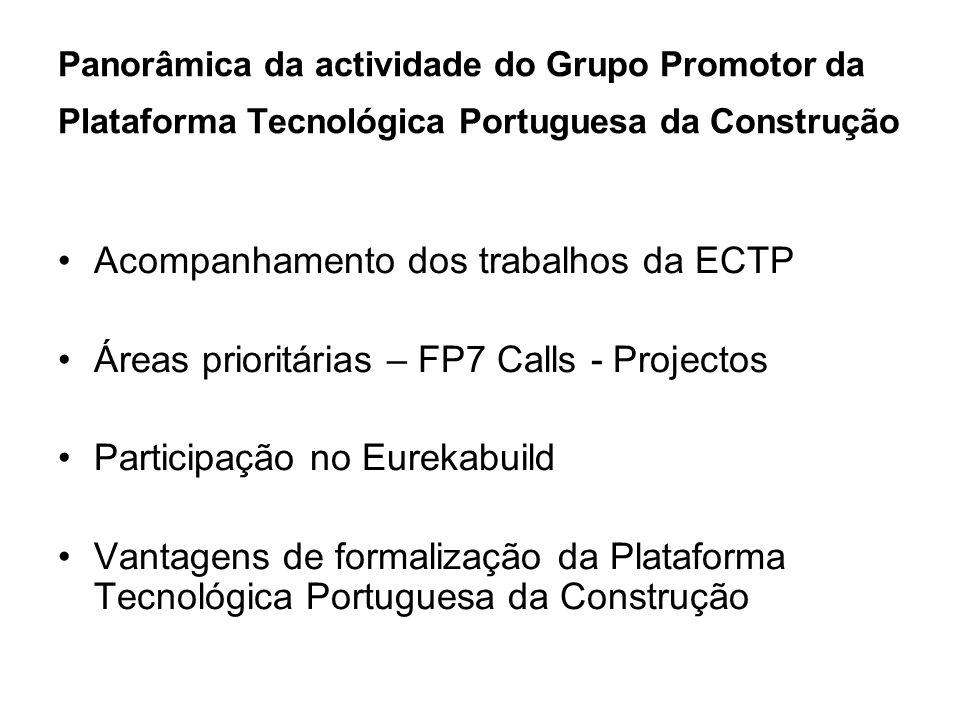 Panorâmica da actividade do Grupo Promotor da Plataforma Tecnológica Portuguesa da Construção Acompanhamento dos trabalhos da ECTP Áreas prioritárias – FP7 Calls - Projectos Participação no Eurekabuild Vantagens de formalização da Plataforma Tecnológica Portuguesa da Construção